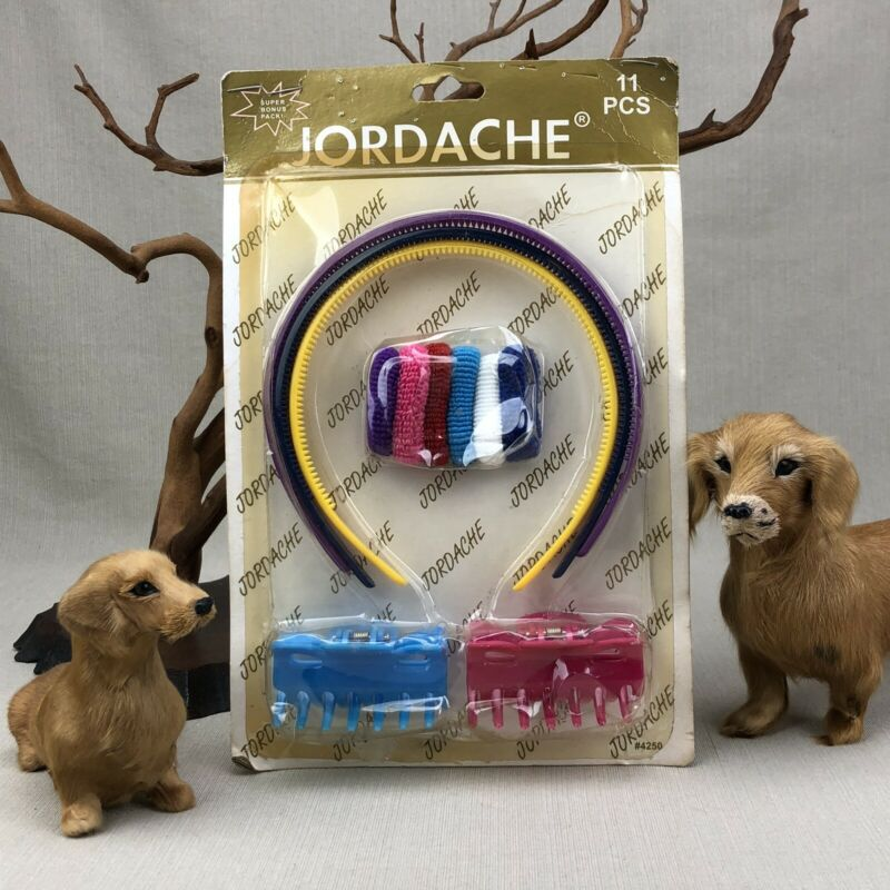 Jordache Vintage Package Plastic Headbands, Claw Clips, Terry Pony Tail Holders