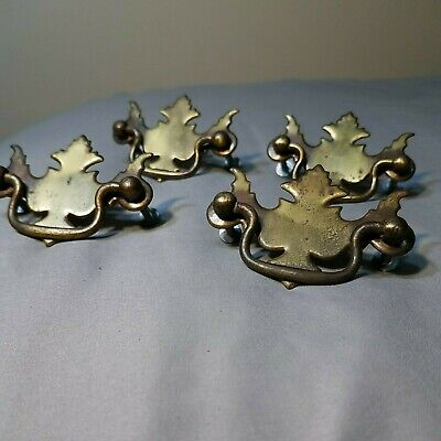 French Provincial 3 78 Boring CTC Vintage Allison 4pc Hardware Drawer Pulls Made in Japan Victorian Antique Bronze tone