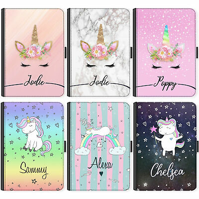 Initial Unicorn Case, Personalised Universal Flip Cover for Samsung Tab A S4 S5E