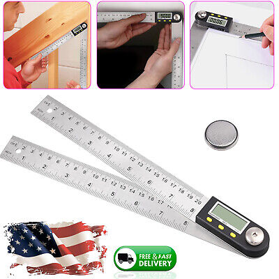 Electronic Lcd Digital Angle Finder Ruler 8 Protractor Stainless Steel Gauge
