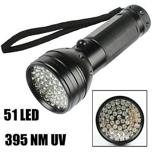 UV Ultra Violet 51 LED 395 nM Flashlight Blacklight Aluminum Torch Light Lamp AU