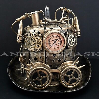 Steampunk Metallic Halloween Burning man Cosplay Costume Mask & Hat - Halloween Costume Steampunk