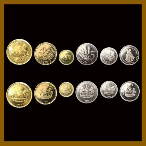 Lesotho 10 20 50 Lisente 1 2 5 Maloti (6 Pcs Coin Set), 1998-2018 Horse Goat Unc