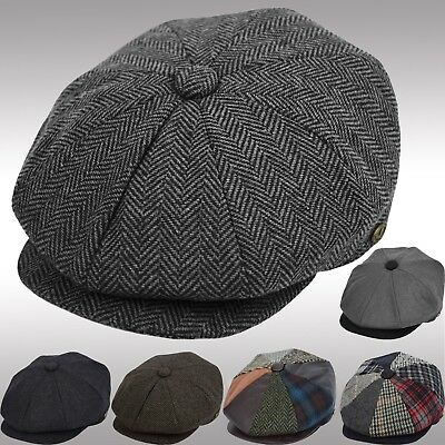 Men's Wool Newsboy Cap Herringbone Driving Cabbie Tweed Applejack Patchwork Hat