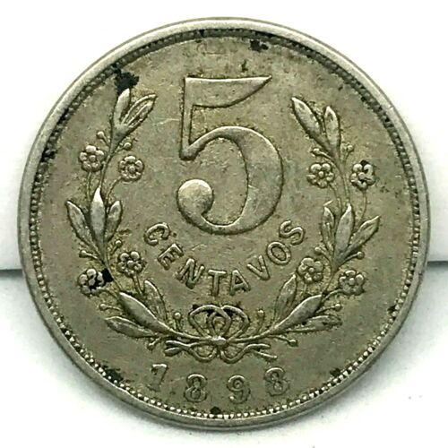 NICARAGUA 1898 5 CENTAVOS   CU/NI. COIN KM # 8 .