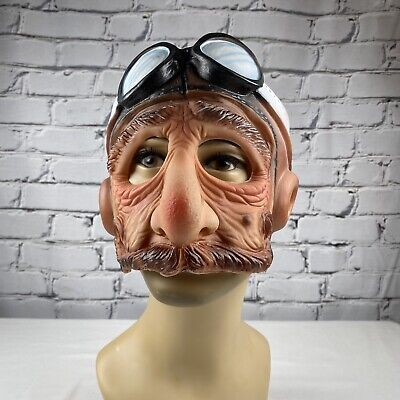 Steampunk Pilot Halloween Rubber Mask Teen Adult Sized Vintage Imagineering 1985