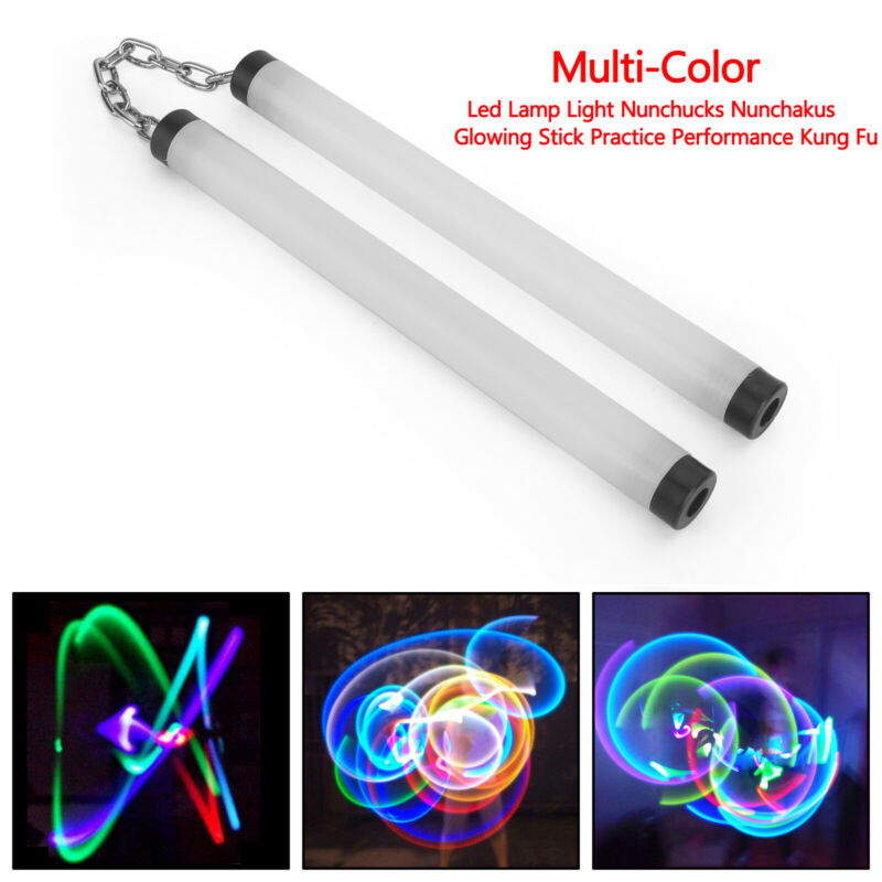 Led Lamp Light Nunchucks Nunchakus Glowing Stick Practice Performance Kung Fu MC