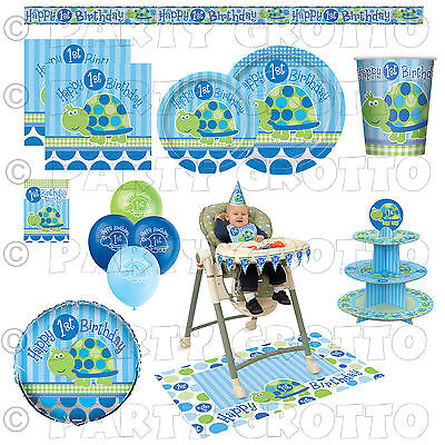 Baby Boy Party Supplies TURTLES Tableware & Decorations (Boys 1st Birthday Party Supplies)
