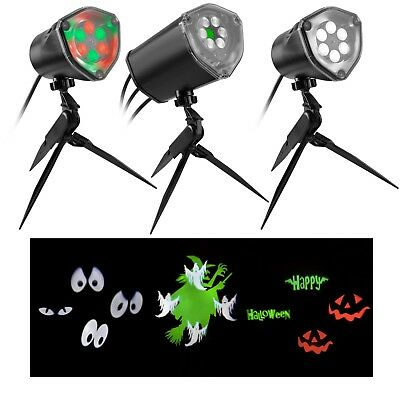 MultiColor Halloween LightSync Light Show Projection Stake 3 spotlights Music  - Halloween Musical Light Show
