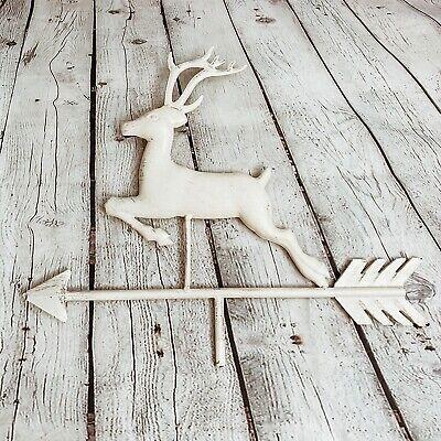 16.5'' Vtg Running Deer Weathervane W/ Arrow Rustic Metal Reindeer Farm Ranch