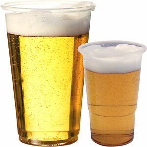 Plastic pint half 1 2 pint disposable beer glasses cups for How strong is acrylic glass