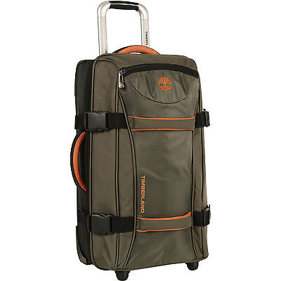 "Timberland Twin Mountain Olive Orange 30"" Wheeled Duffle Luggage $380 Value New"