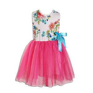 New Girls Flower Party Dresses in 7 Colours From 12-18 Months to 7-8 Years