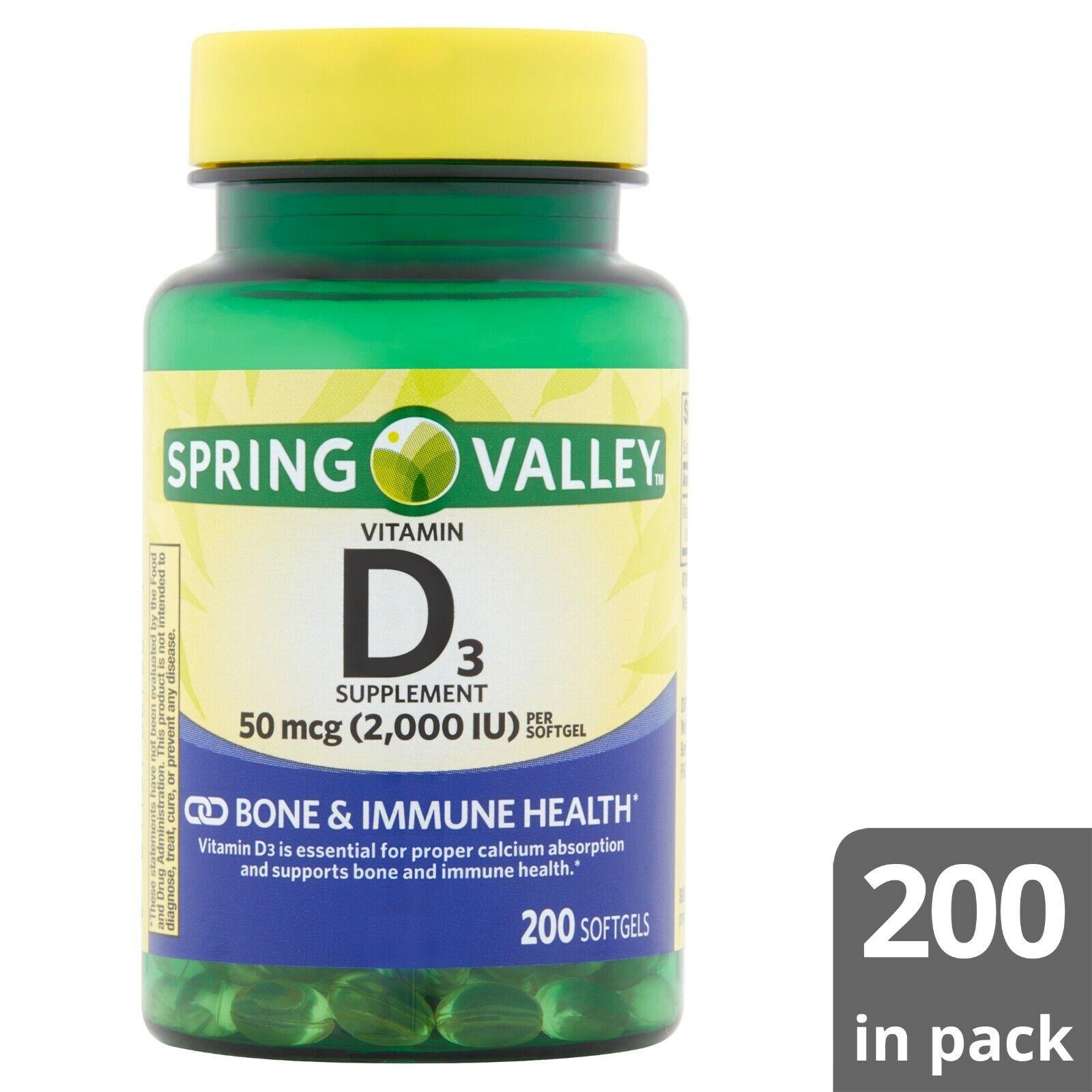 Vitamina D3 2000 IU 200 Softgels Spring Valley Sistema Inmunologico.