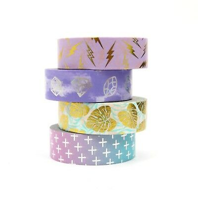 Washi Tape Foil Lightning Palm Leaf Cross Purple Silver Gem Gilded Set 4x10m ()