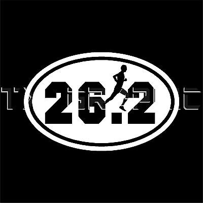 (26.2 MARATHON STICKER MAN VINYL OVAL DECAL  RUNNER RUNNING )