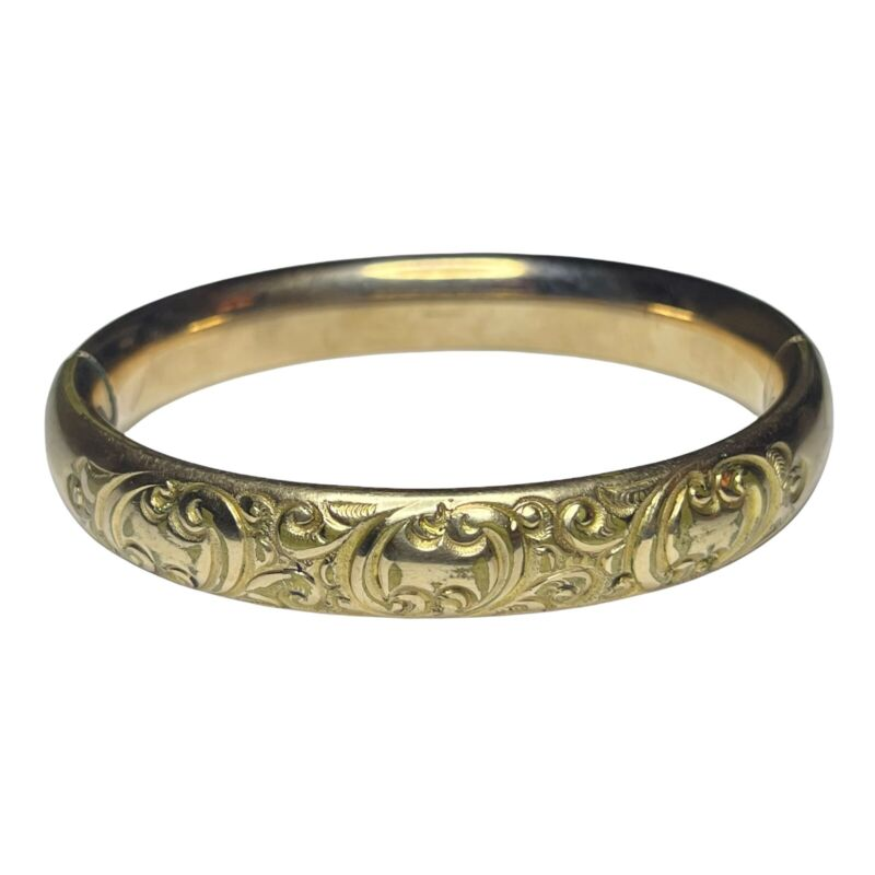 Lovely Antique Cam & Co Gold Filled Hinged Etched Bracelet Needs Repair