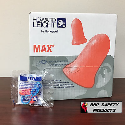 Howard Leight Max-30 Ear Plugs Corded Foam Disposable 100 Pair Box