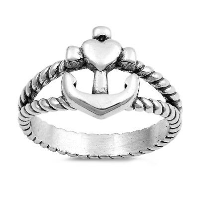 Anchor Heart (.925 Sterling Silver Cross Heart Anchor Rope Fashion Ring Size 4-10)