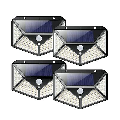 4 LAMPADE 100 LED SOLARE DA ESTERNO GIARDINO FARETTO FOTOVOLTAICO CON SENSORE
