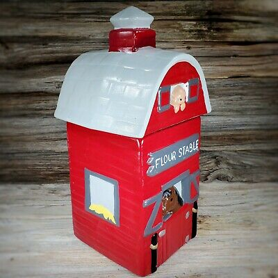 Twin Winton Flour Stable Horse Barn Cookie Jar Container Red Ceramic Vintage 80s