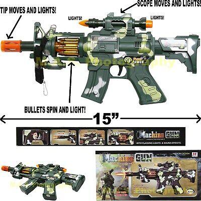 M-16 MACHINE GUN TOY CAMOUFLAGE SWAT RIFLE ASSAULT CAR-15 M-16 LIGHTS & SOUNDS Auto Machine Gun