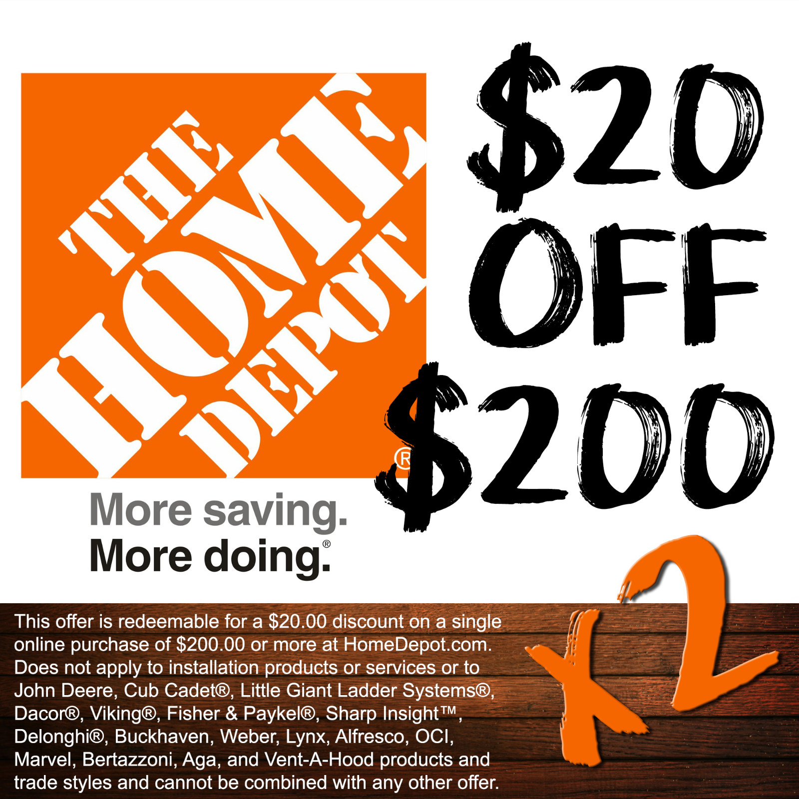 TWO 2 Home Depot 20 Off 200 ONLINE Coupons 40 In Savings  - $4.99