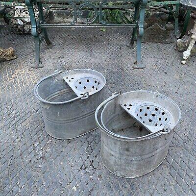 Couple vintage galvanised metal mop buckets garden planters