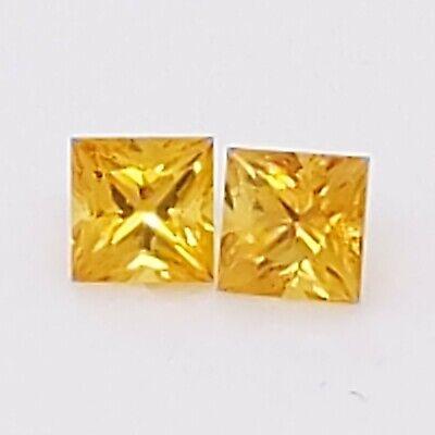 Sri Lanka Yellow Princess Cut Sapphire Pair 4mm 0.98 cts