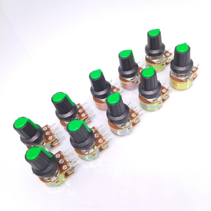 10 Units 100K B100K OHM Linear Taper Rotary Dual Potentiometer POT Green Knob