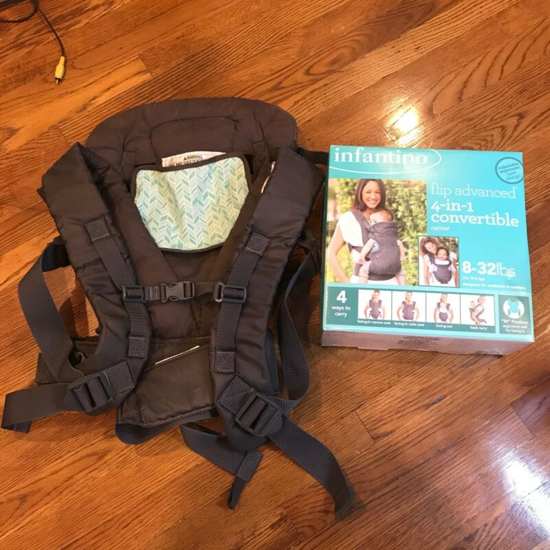 Infantino Flip Advanced 4-in-1 Convertible Baby Adjustable Carrier, Light Grey