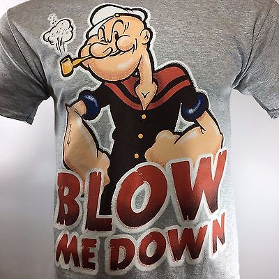 Popeye Mens T Shirt  Blow Me Down  The Sailor Vintage Cartoon Size  2X Large