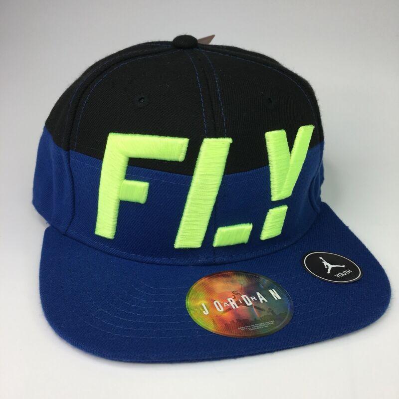 Air Jordan FLY Jumpman Cap Black & Blue Youth Adjustable Baseball Cap NEW