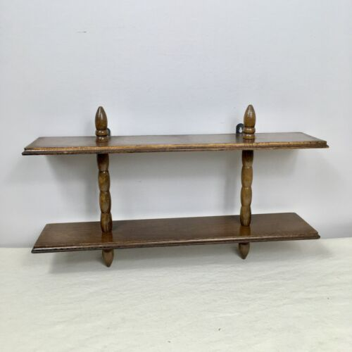 """Vintage MCM Small Wooden Wall Shelf Hanging Decor 16x10"""" Mid Century Simple"""