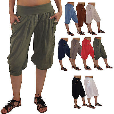 kurze Damen Haremshose Hose Pluderhose Pumphose Sommerhose Yogahose DK015 Yoga-hosen Kurz
