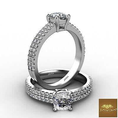 2 Row Shank Double Prong Set Cushion Diamond Engagement Ring GIA E VVS2 1.21Ct