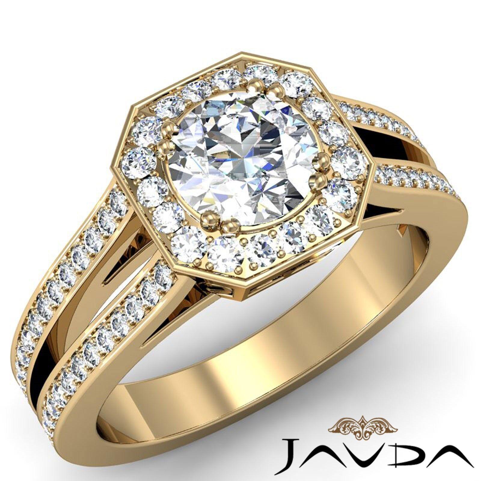 Hexagon Halo Round Diamond Engagement Split Shank Pave Set Ring GIA F VS1 2.46Ct