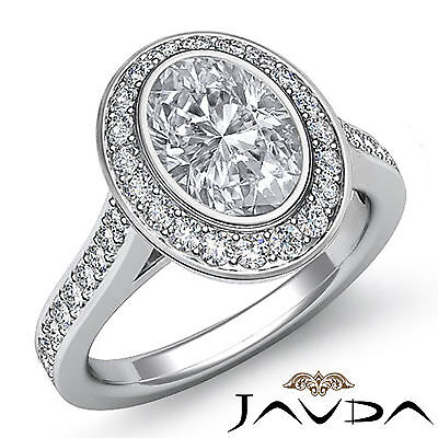 1.5 ct Brilliant Cut Oval Diamond Engagement 14k White Gold I SI1 GIA Halo Ring