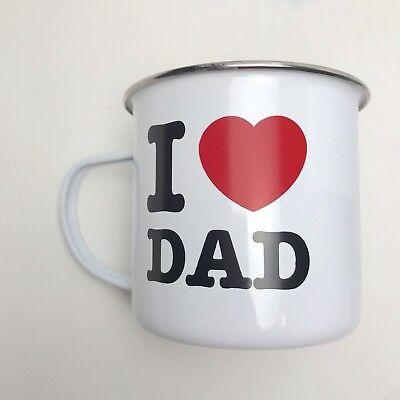 Paladone Metal White Camping Fathers Day Birthday Coffee Mug I ❤️ Dad (Fathers Day Mug)