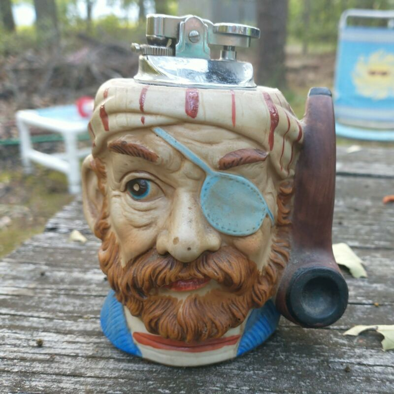 Old ceramic one eye pirate table top cigarette lighter Japan