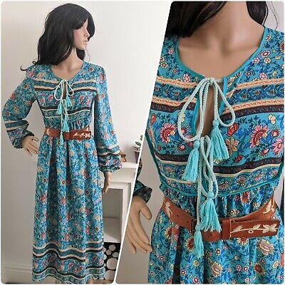 Vintage Floral Tie Front Floral Print Boho Indian Style Smock Dress S 8 10 36