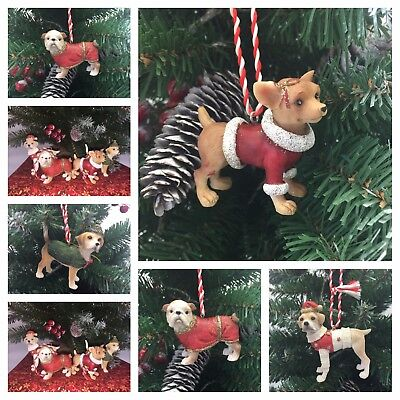 BEAUTIFUL DOG BREED CHRISTMAS DECORATIONS 4 ASSORTED BREEDS IN RED OUTFITS  - Beautiful Christmas Outfits