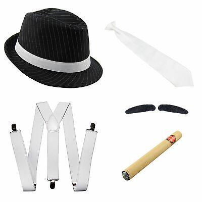 Gangster Kostüm Set mit Hosenträger - Krawatte - Hut - Zigarre - Bart