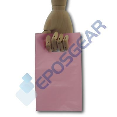 200 Extra Small Pink Punch Out Handle Gift Fashion Party Plastic Carrier Bags