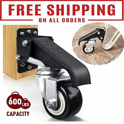 Workbench Casters Kit 600 Lbs - Heavy Duty Retractable Caster Wheel Set Of 4 New