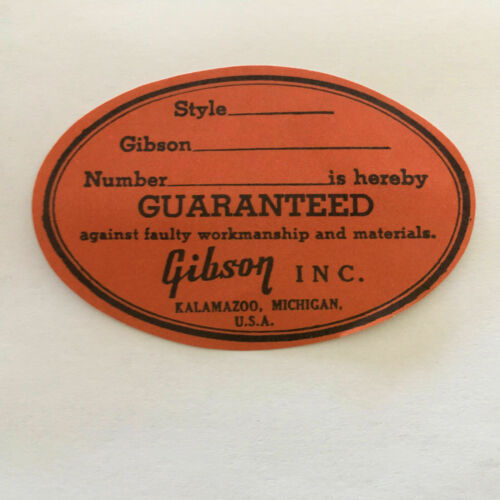 Gibson Orange Oval Label Serial# for 1955-66 Vintage ES Arched Top Models