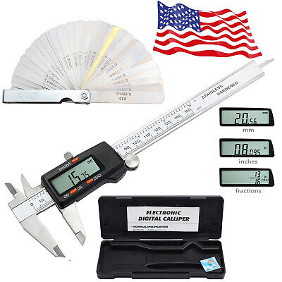 6 Stainless Steel Digital Caliper Vernier Electronic Ruler Meter Feeler Gauge