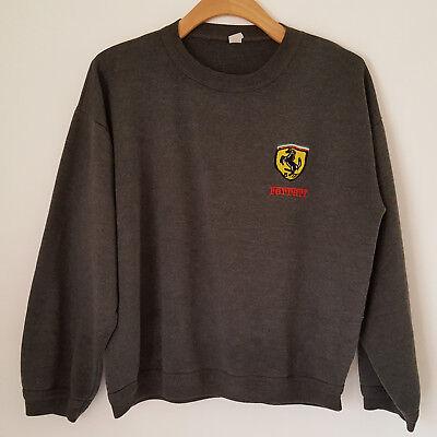 Ferrari Embroidered Logo Sweatshirt L Gray Pullover Crew-neck Made in -