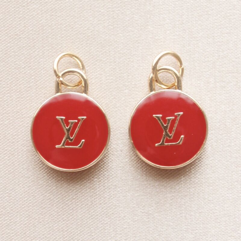 Set of 2 Louis Vuitton LV Zipper Pulls, 15mm, Red, Gold, Double Sided, Round