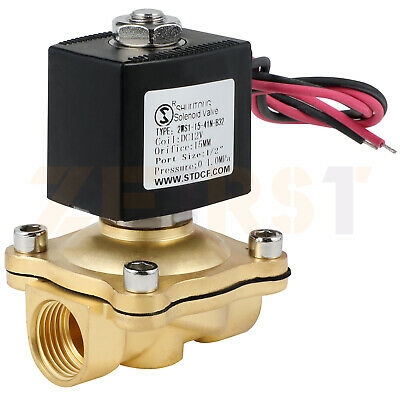 12 Brass Electric Solenoid Valve Dc12v Normally Closed For Water Air Gas